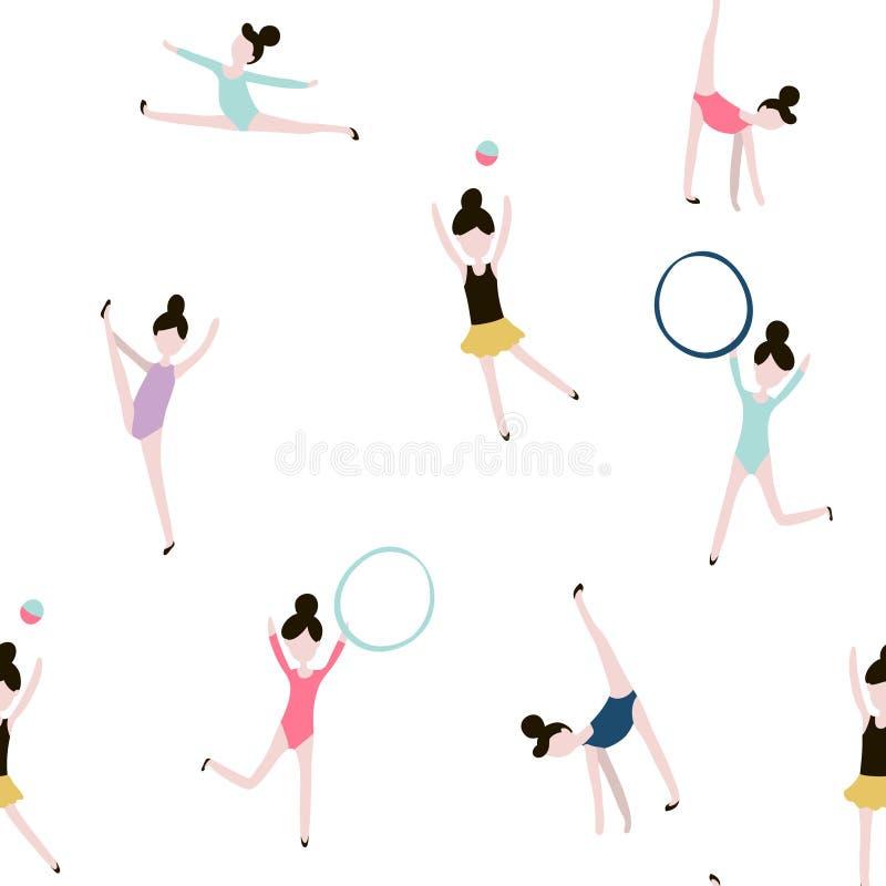 Безшовная картина с гимнастическими девушками Предпосылка современного стиля плоская иллюстрация штока