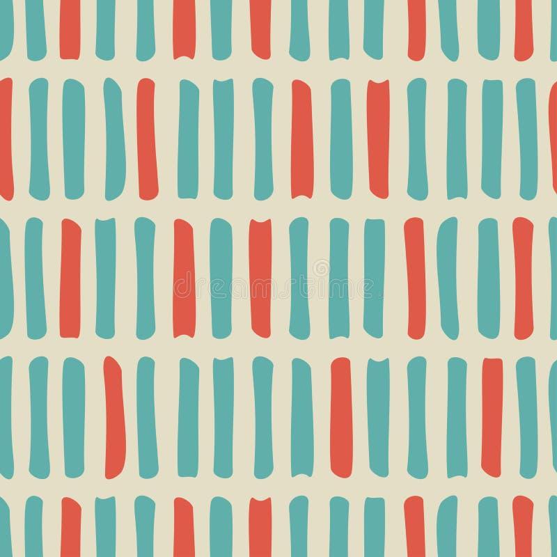 Безшовная картина с голубыми и красными затрапезными ходами или линиями на бежевой предпосылке иллюстрация вектора