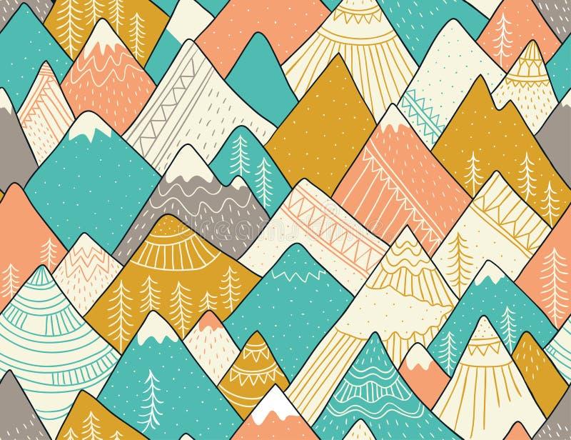 Безшовная картина с горами в скандинавском стиле Декоративная предпосылка с ландшафтом вычерченная рука иллюстрация вектора