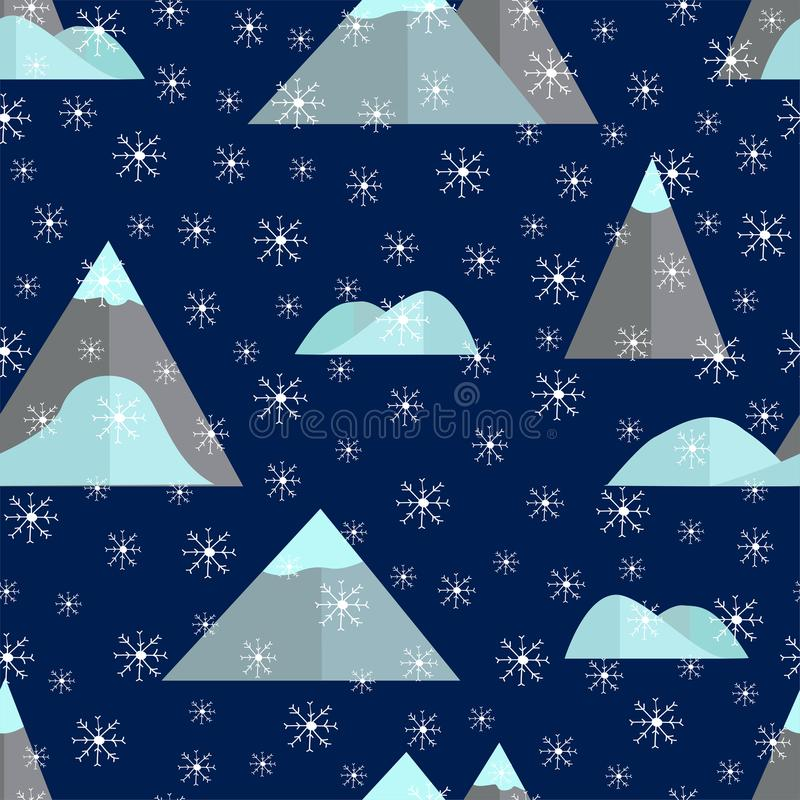 Безшовная картина с горой и снежинками бесплатная иллюстрация