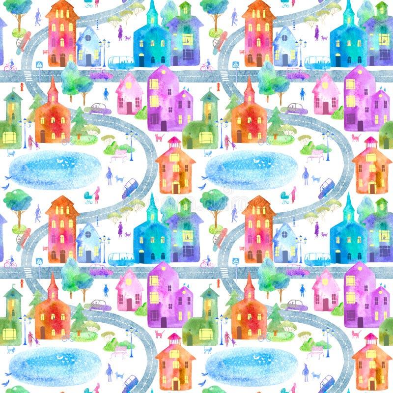 Безшовная картина с городом, дорогой, парком и озером Цветастый дом иллюстрация штока