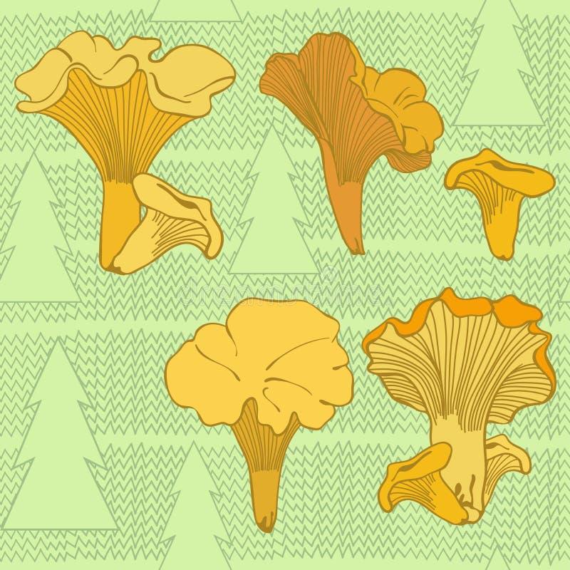 Download Безшовная картина с грибами и спрусами лисички Иллюстрация штока - иллюстрации насчитывающей изображение, гриб: 37926118