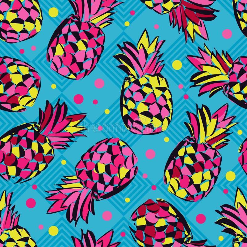 Безшовная картина с декоративными ананасами fruits тропическо иллюстрация штока