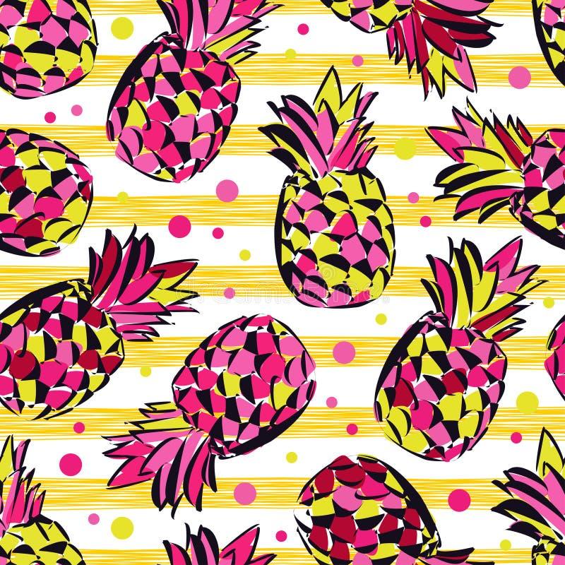 Безшовная картина с декоративными ананасами fruits тропическо иллюстрация вектора