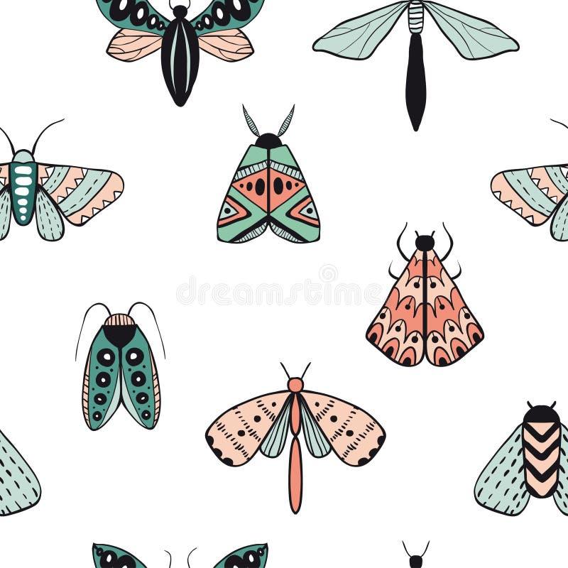 Безшовная картина с декоративными бабочками иллюстрация штока