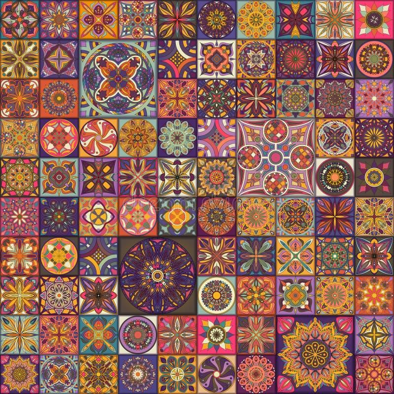 Безшовная картина с декоративными мандалами Винтажные элементы мандалы стоковое изображение rf