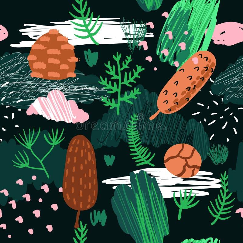 Безшовная картина с деревьями, ветвями и конусами ели Ребяческая предпосылка леса с абстрактными элементами для ткани бесплатная иллюстрация