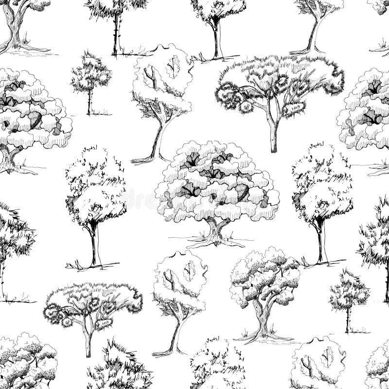 Безшовная картина с деревьями monochrome руки вычерченными в стиле эскиза изолированными на белой предпосылке стоковая фотография rf