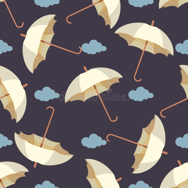 Безшовная картина с дождем, листьями и красочными зонтиками Обои для комнаты детей Предпосылка погоды бесплатная иллюстрация