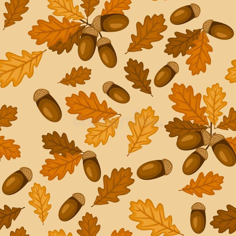 Безшовная картина с дубом осени выходит и жолуди иллюстрация штока