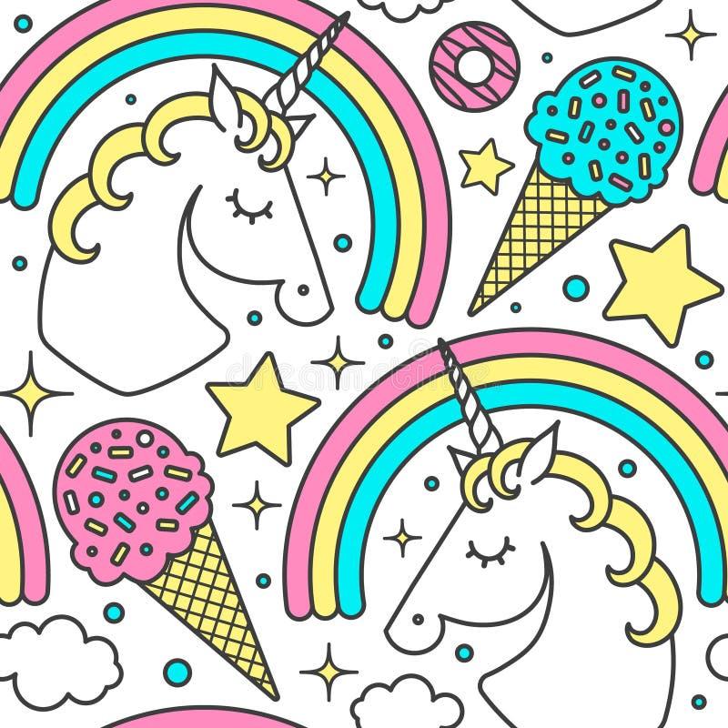 Безшовная картина с единорогом, радугой, облаками, звездами, мороженым, donuts Характер стиля шаржа вектора Изолировано на белизн иллюстрация вектора