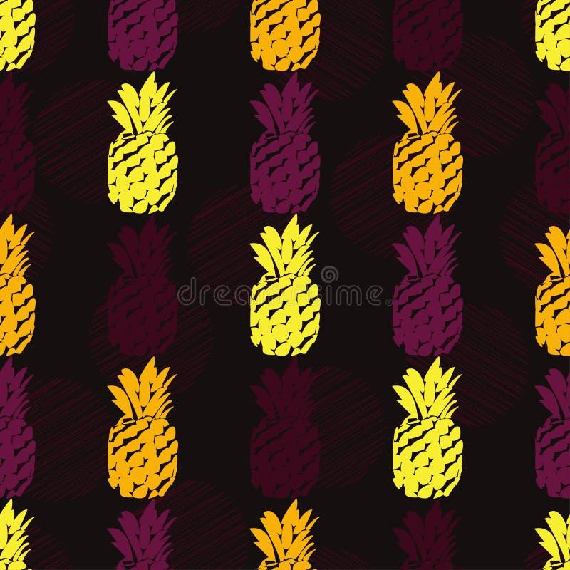 Безшовная картина с декоративными ананасами fruits тропическо бесплатная иллюстрация