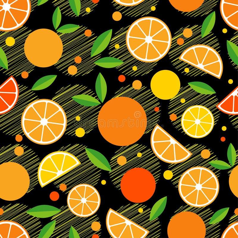 Безшовная картина с декоративными апельсинами fruits тропическо бесплатная иллюстрация