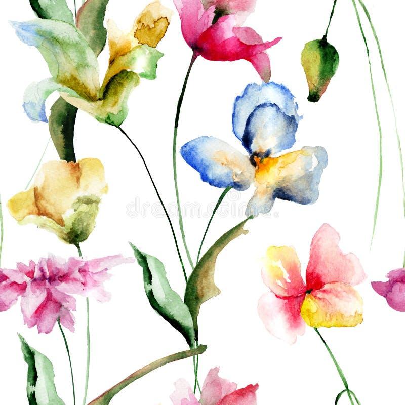 Безшовная картина с декоративными цветками лета бесплатная иллюстрация