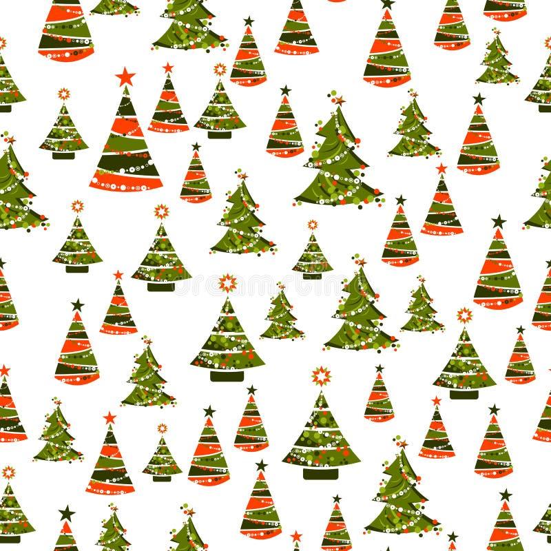 Безшовная картина с деревьями xmas иллюстрация штока