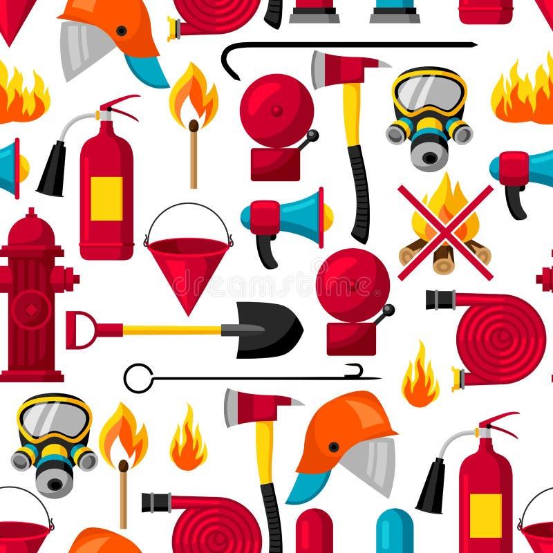 Безшовная картина с деталями firefighting Оборудование защиты от огня бесплатная иллюстрация