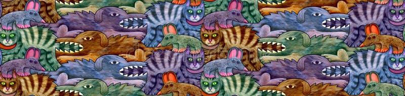 Безшовная картина сделанная собак, котов и мышей в 4 тенях иллюстрация штока