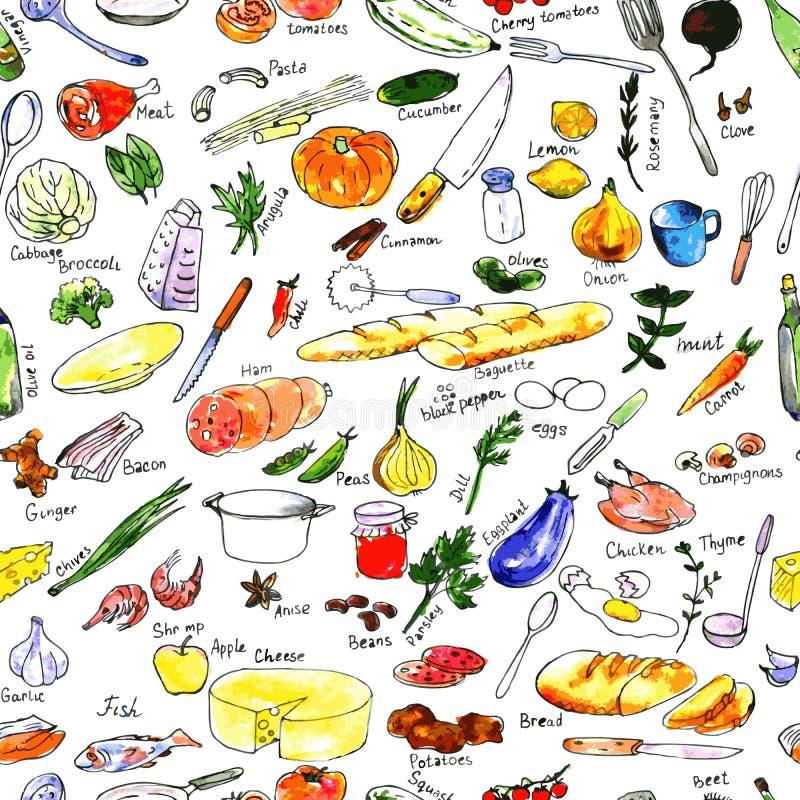 Безшовная картина с едой бесплатная иллюстрация