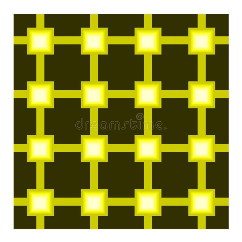 Безшовная картина с желтой квадратной решеткой на черной предпосылке иллюстрация штока