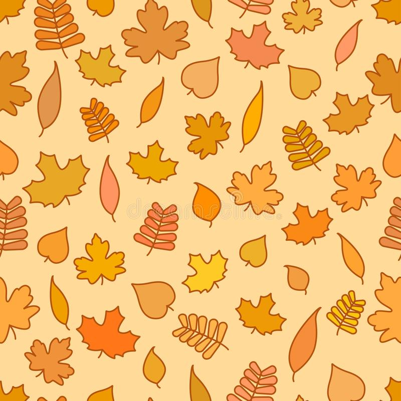 Безшовная картина с желтым цветом и апельсином выходит, сезонная предпосылка осени, обои падения иллюстрация штока