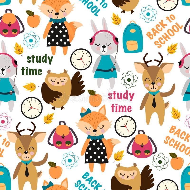 Безшовная картина с животными в школе - иллюстрации вектора, eps бесплатная иллюстрация