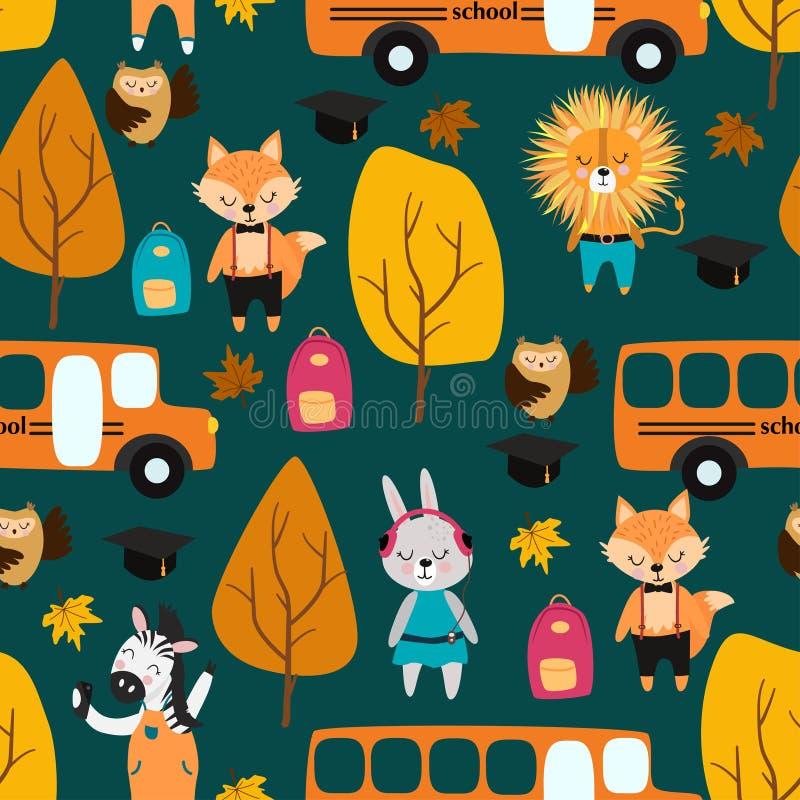 Безшовная картина с животными и школьным автобусом - иллюстрацией вектора, eps иллюстрация вектора