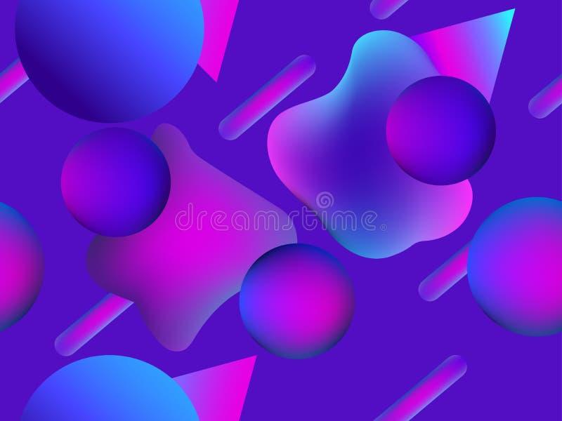 Безшовная картина с жидкостной формой и геометрические объекты в 1980s стиля Текстура градиента фиолетовый цвет вектор иллюстрация вектора
