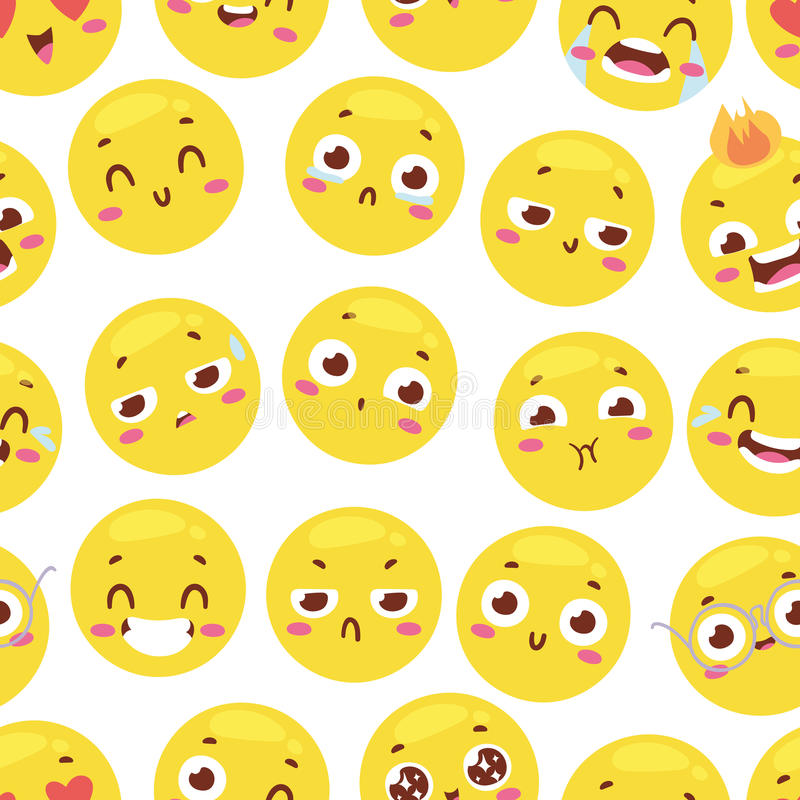 Безшовная картина с жизнерадостными счастливыми smileys для интерьера тканей или дизайна книги и смешной вебсайт характера желтею бесплатная иллюстрация