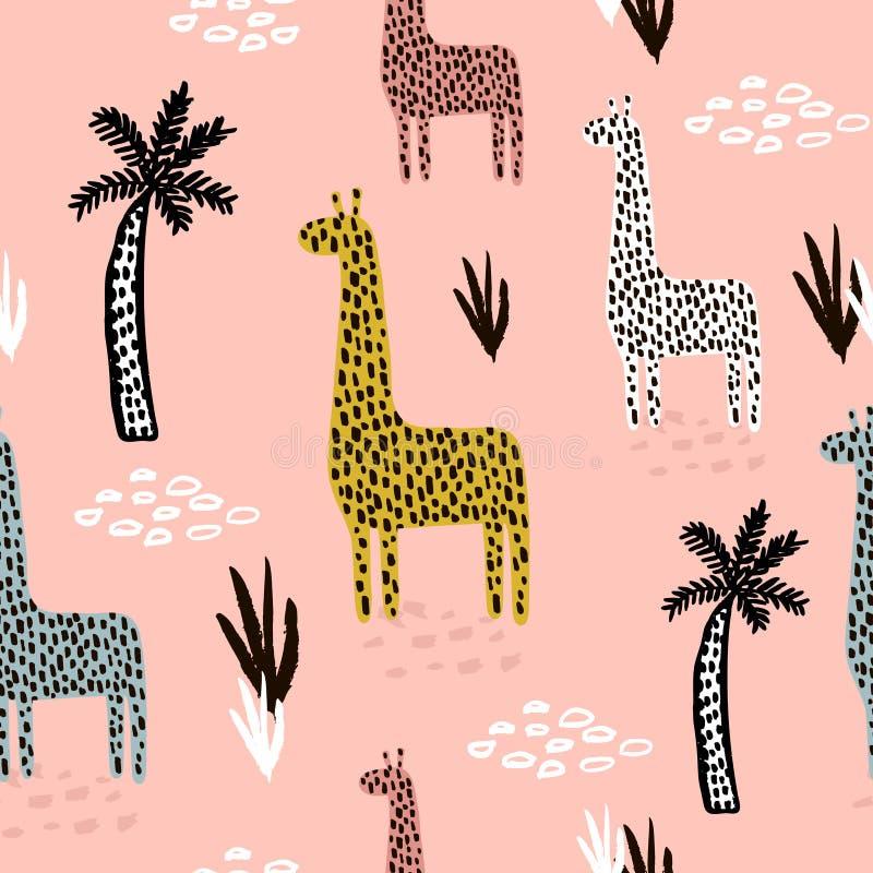 Безшовная картина с жирафом, пальмой, нарисованными рукой формами и текстурами Африканская текстура для ткани, ткани Предпосылка  бесплатная иллюстрация