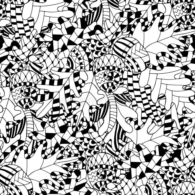Безшовная картина с завтрак-обедом, листьями и жолудями дуба в стиле doodle иллюстрация штока