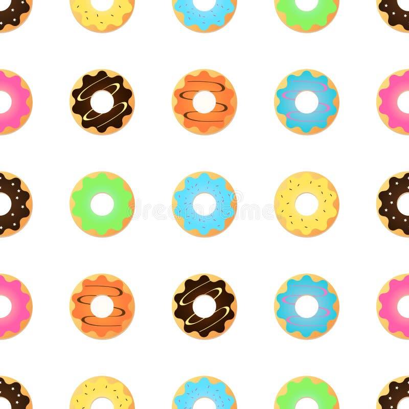 Безшовная картина с застекленными donuts Розовые цветы иллюстрация вектора