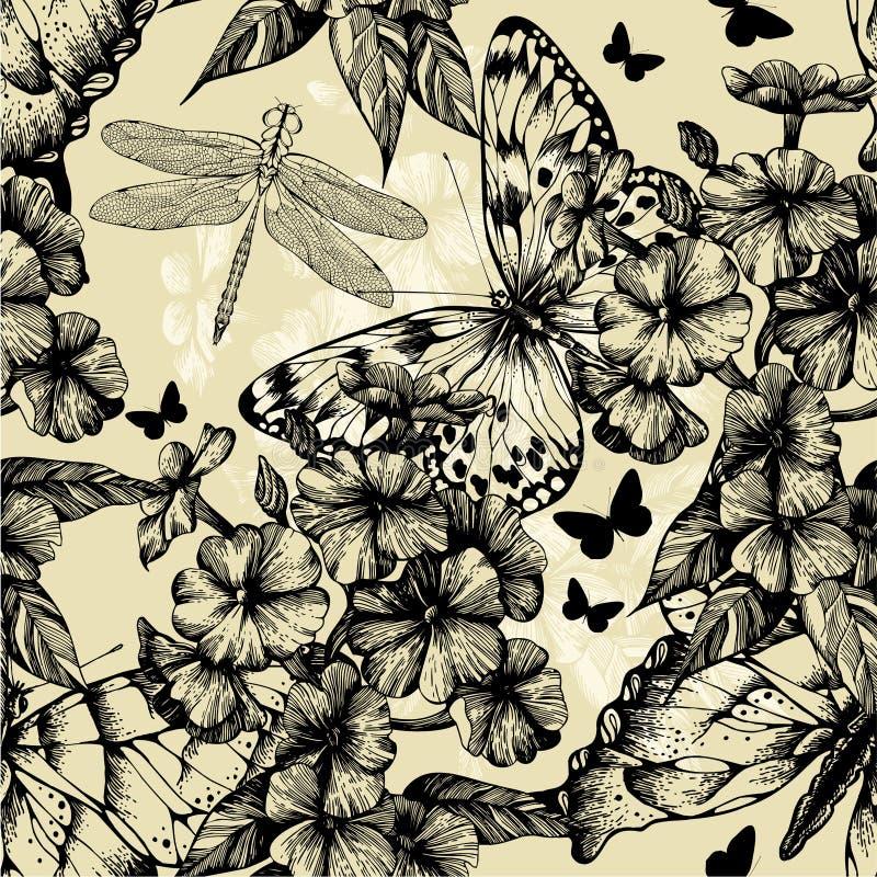 Безшовная картина с зацветая phlox, бабочками бесплатная иллюстрация