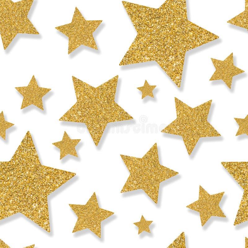 Безшовная картина с звездами золота confetti sequin Плен яркого блеска стоковое фото