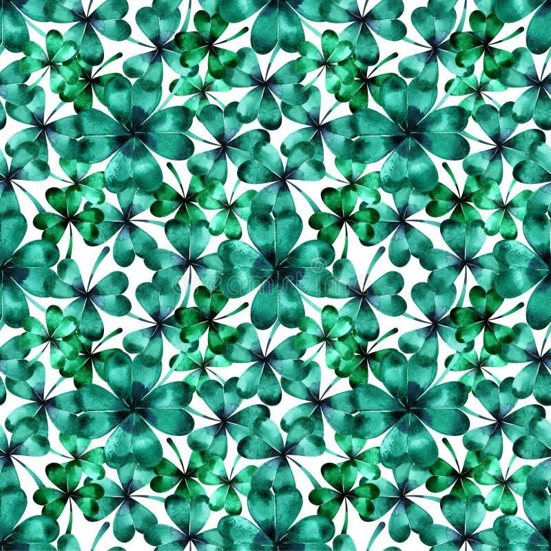 Безшовная картина с зелеными листьями трилистника клевера Нарисованная рукой предпосылка акварели первоначально картина иллюстрация вектора