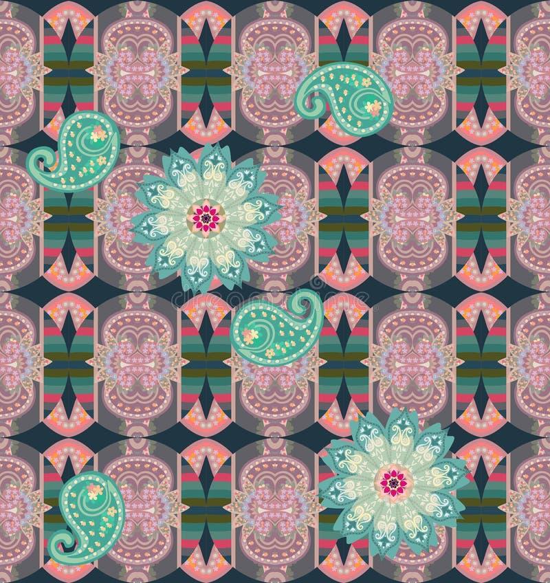 Безшовная картина с зелеными цветком и Пейсли мандалы на богато украшенной орнаментальной предпосылке Этнический стиль Модная печ бесплатная иллюстрация