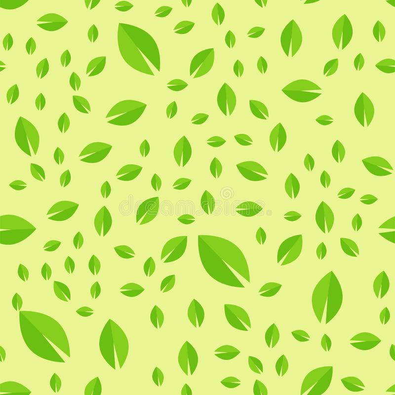 Безшовная картина с зеленым дизайном лист природы иллюстрации вектора листьев иллюстрация штока