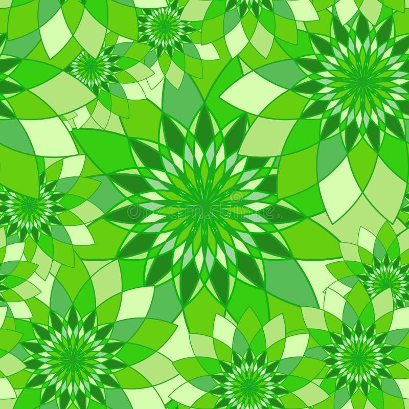 Безшовная картина с зеленым флористическим guilloche иллюстрация вектора