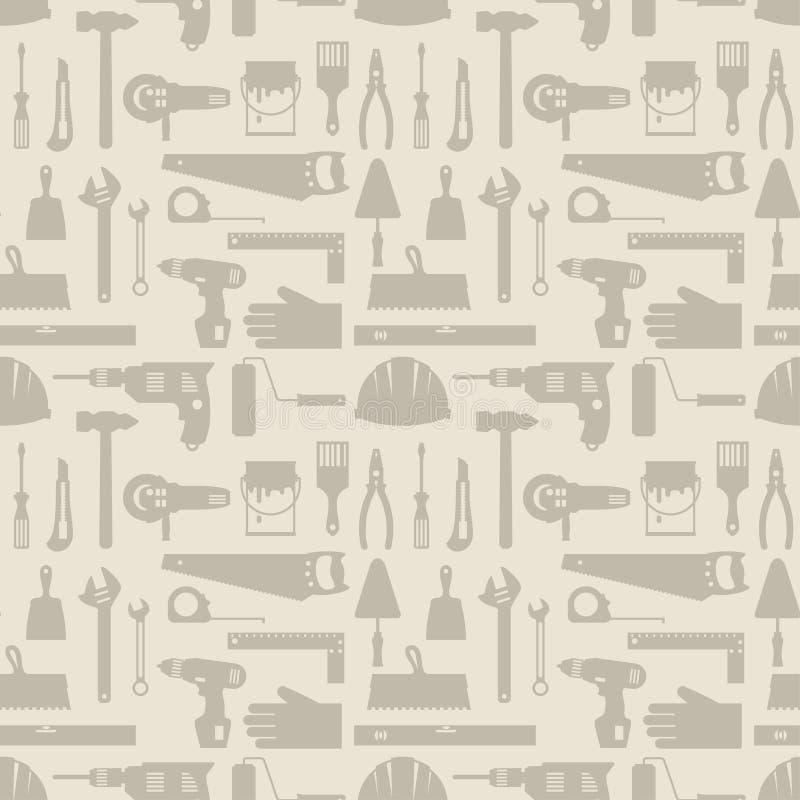 Безшовная картина с значками инструментов деятельности ремонта иллюстрация вектора