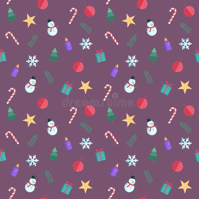 Безшовная картина с значками рождества плоскими Милая иллюстрация шаржа вектора Собрание элементов рождества иллюстрация вектора