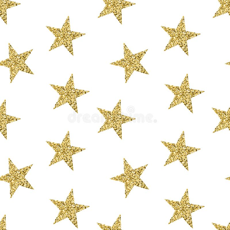 Безшовная картина с золотистыми звездами Блестящая текстура с сияющей искрой Современный вектор для ткани, ткани, ткани иллюстрация вектора