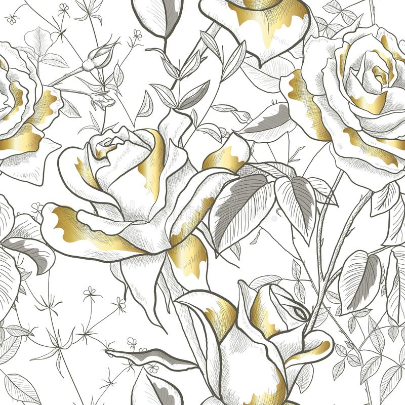 Безшовная картина с золотом Розой, листьями и бутонами на белой предпосылке Современный абстрактный дизайн для бумаги, обоев иллюстрация штока