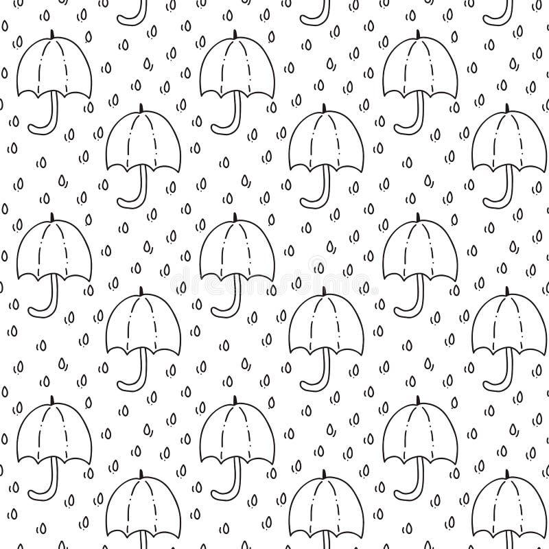 Безшовная картина с зонтиком и падениями дождя в черноте Улучшите для обоев, бумаги подарка, заполнений картины, предпосылки инте бесплатная иллюстрация