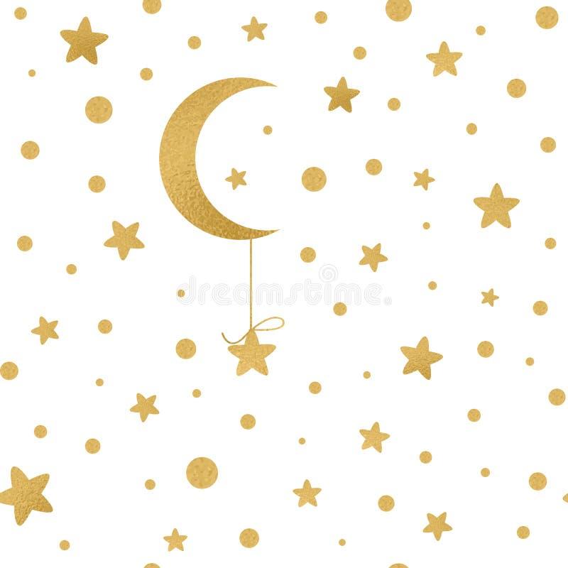 Безшовная картина с золотыми звездами, луна вектора на белизне иллюстрация вектора