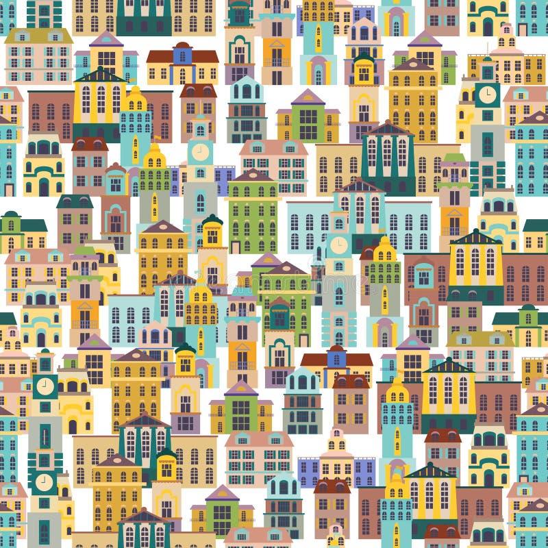 Безшовная картина с зданиями шаржа иллюстрация вектора
