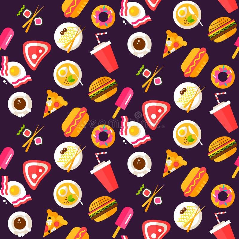 Безшовная картина с здоровой и высококалорийной вредной пищей бесплатная иллюстрация