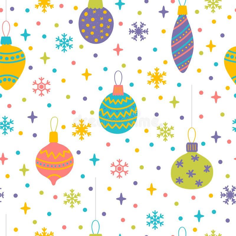 Безшовная картина с игрушками, шариками и пузырями рождества Милая предпосылка с красочными элементами дизайна зима снежка положе иллюстрация штока