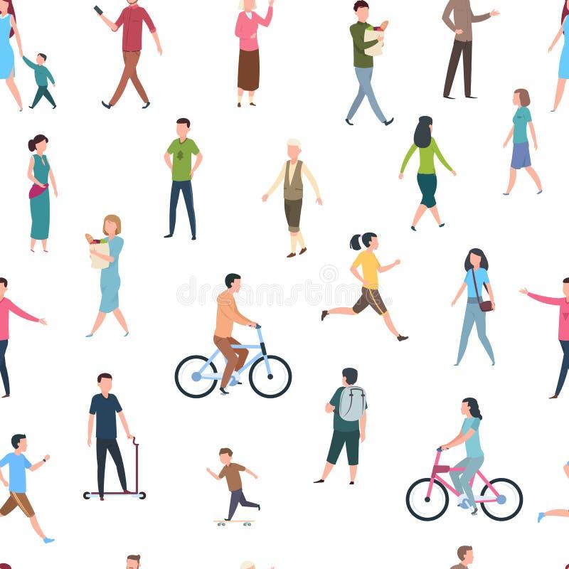 Безшовная картина с идя людьми Люди в случайных одеждах, прогулках толпы в городе Мультфильм эскиза иллюстрации вектора иллюстрация вектора