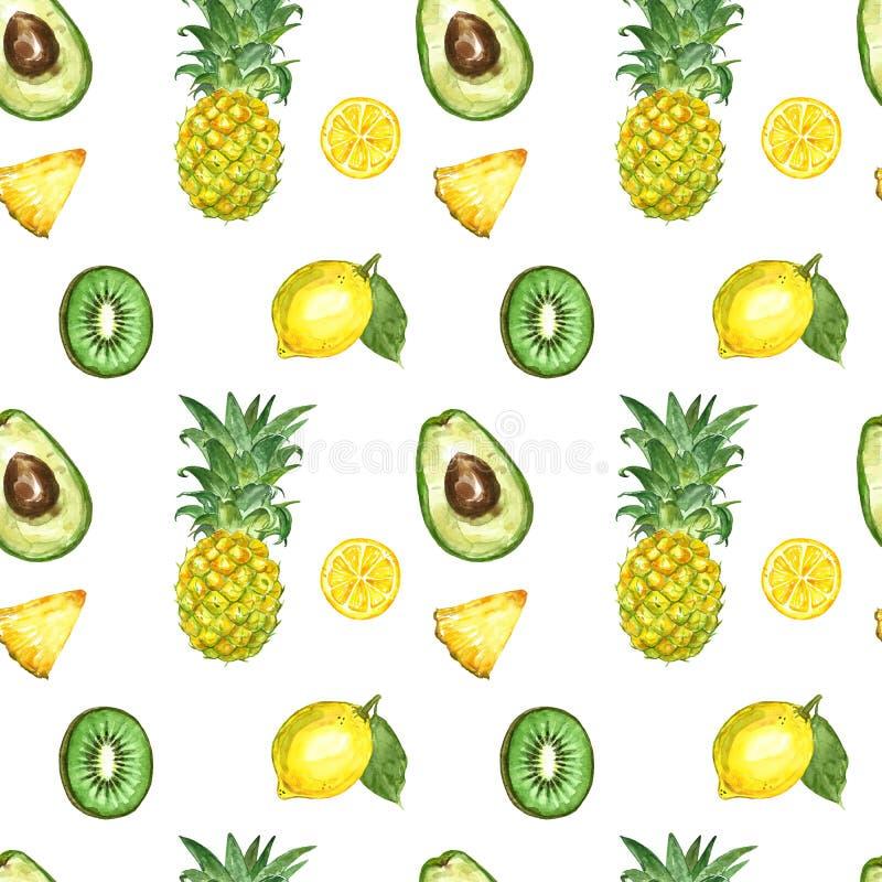 Безшовная картина с изолированными плодами лета акварели экзотическими - зрелый ананас, авокадо, плод кивиа, лимон, куски плодов иллюстрация вектора