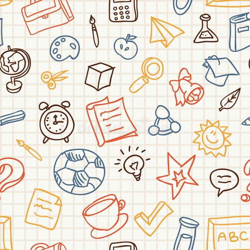 Безшовная картина с иконами образования и школы иллюстрация вектора