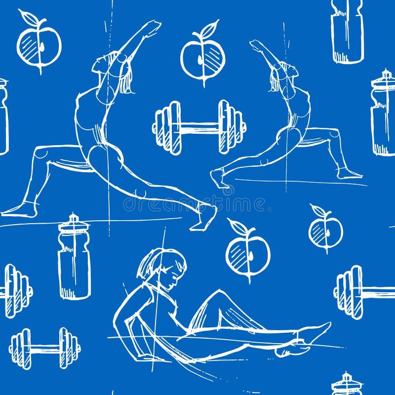 Безшовная картина с иллюстрацией вектора плоской Спорт, йога и физические упражнения женщин 1 иллюстрация вектора